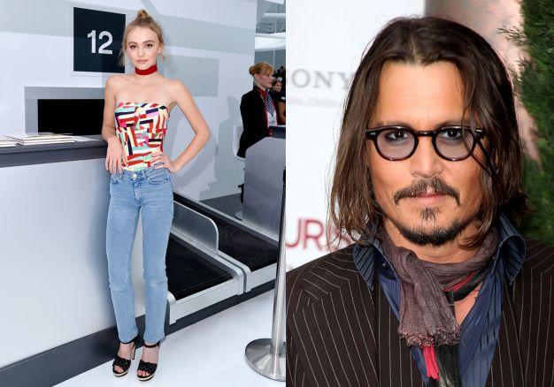 Lily-Rose e Johnny Depp lenço no pescoço