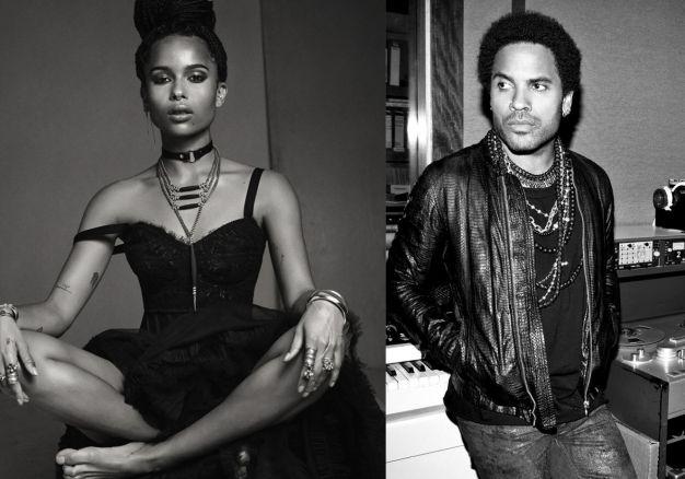 Zoe e Lenny Kravitz correntes
