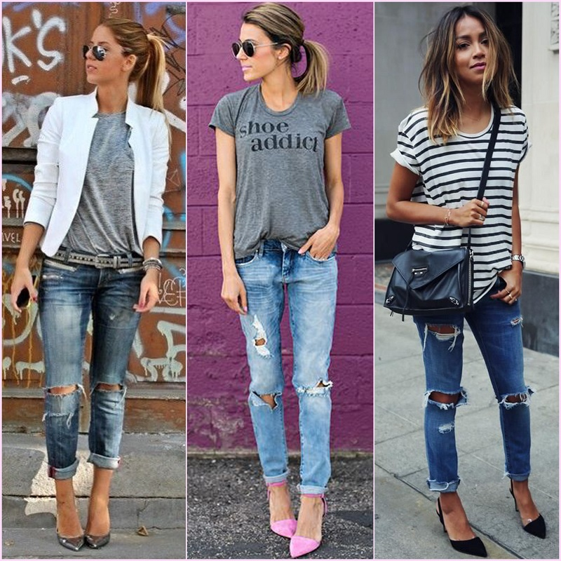 Jeans e t-shirts looks mulheres