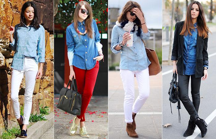 camisa jeans com calça colorida