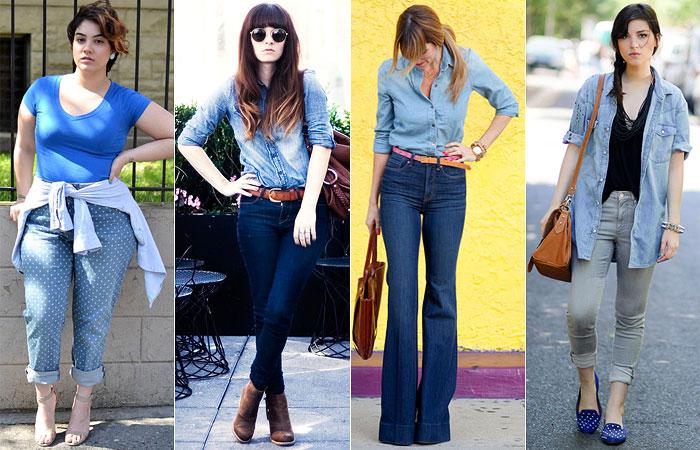 como usar camisa jeans com calça jeans