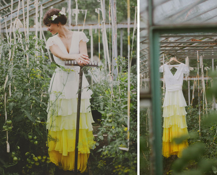 vestido de casamento com saia amarelo