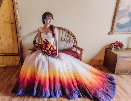 vestido de casamento dip dye 1