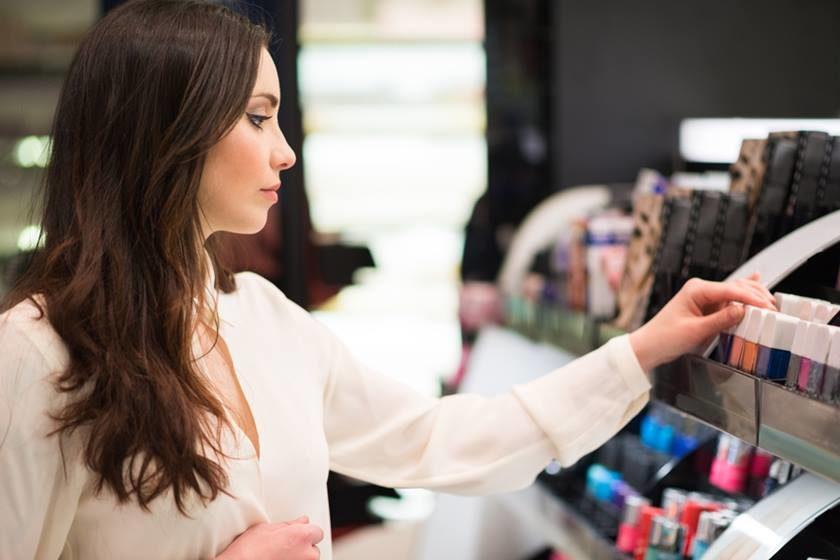 Portrait of a woman shopping in a beauty shop