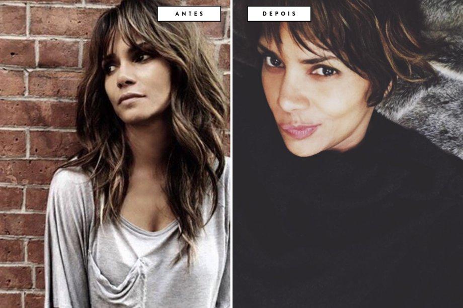 cabelo antes e depois Halle Berry