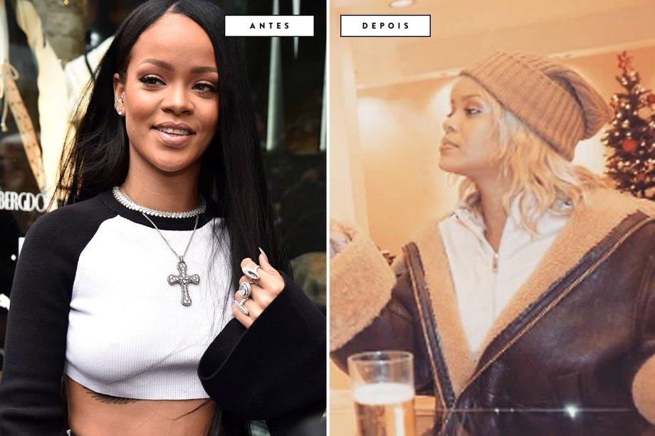 cabelo antes e depois Rihanna