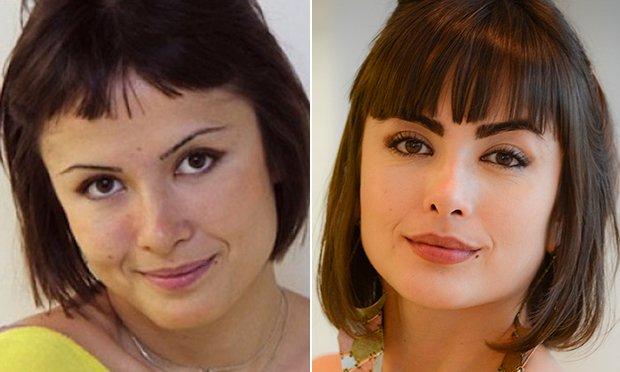Antes e depois da sobrancelha da maria casadeval
