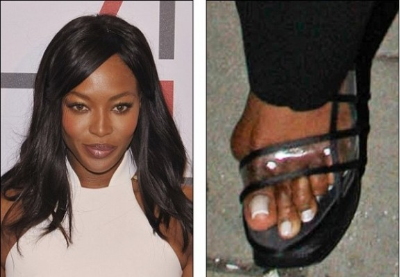 celebridades com pés feios Naomi Campbell