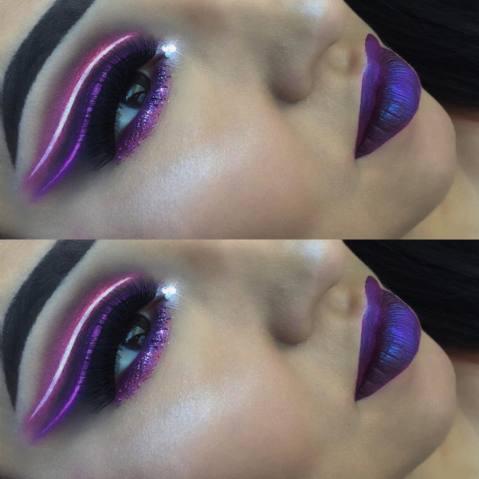 maquiagem imitando luz neon