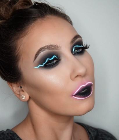 maquiagem que imita luz neon tendência