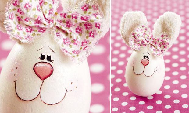 Decoração de Páscoa com casca de ovo ovinhos divertidos