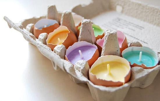 Decoração de Páscoa com casca de ovo velas