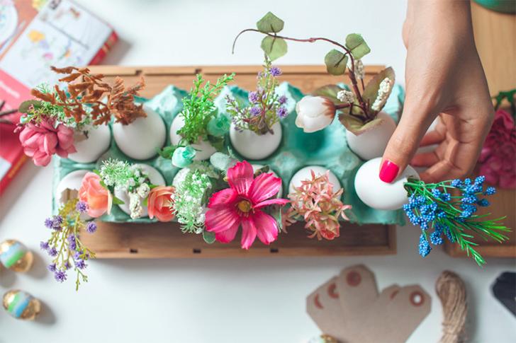 Decoração de Páscoa criativa arranjo de flores