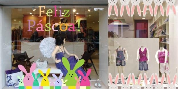 Decoração de Páscoa na vitrine da loja