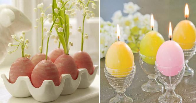 Enfeites para decoração de páscoa vela em formato de ovo