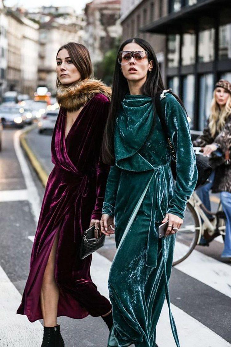Looks com veludo molhado verde vestido de inverno