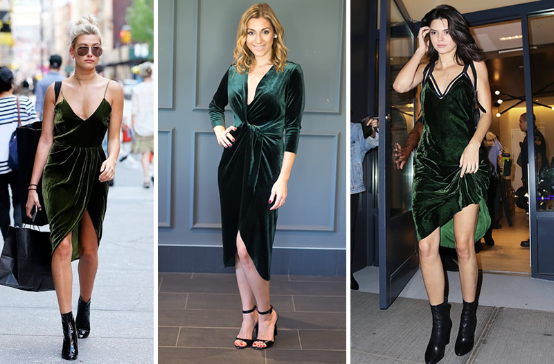 Looks com veludo molhado verde vestidos