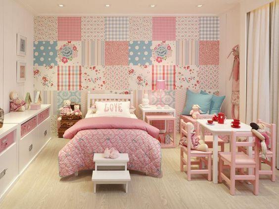 coração parede quarto de menina com patchwork