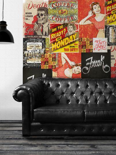 decoração de parede com cartazes