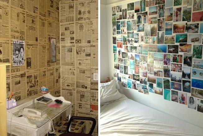 decoração de parede com colagem de jornal