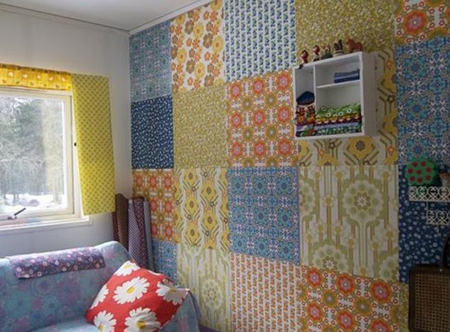 decoração de parede com colagem de tecidos patchwork