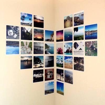 decoração de parede com fotos formato coração