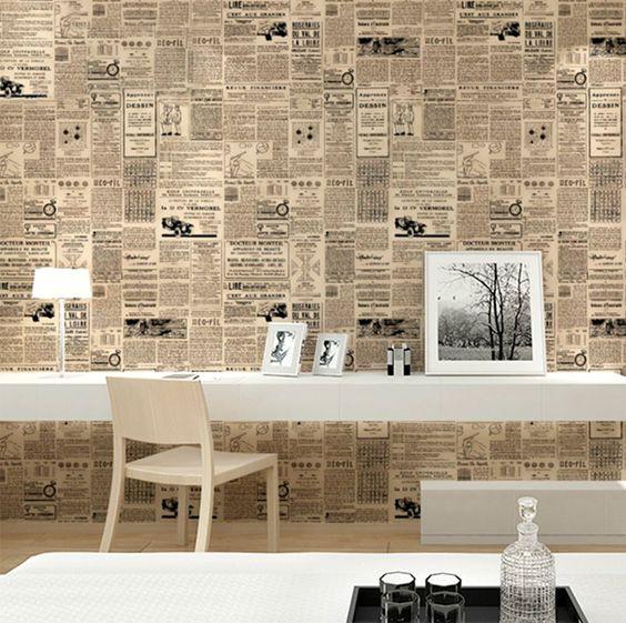 decoração de parede com jornal sala