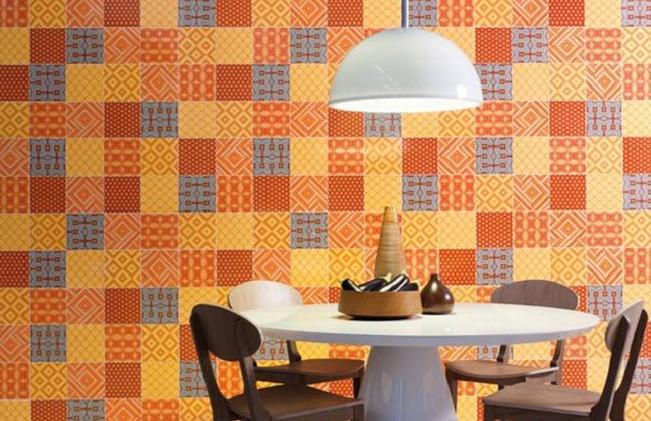 decoração de parede com patchwork na sala