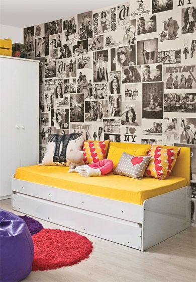 decoração de parede com revistas