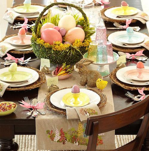 decoração páscoa mesa