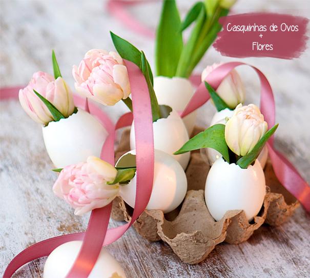 eneites de páscoa casca de ovo e flores