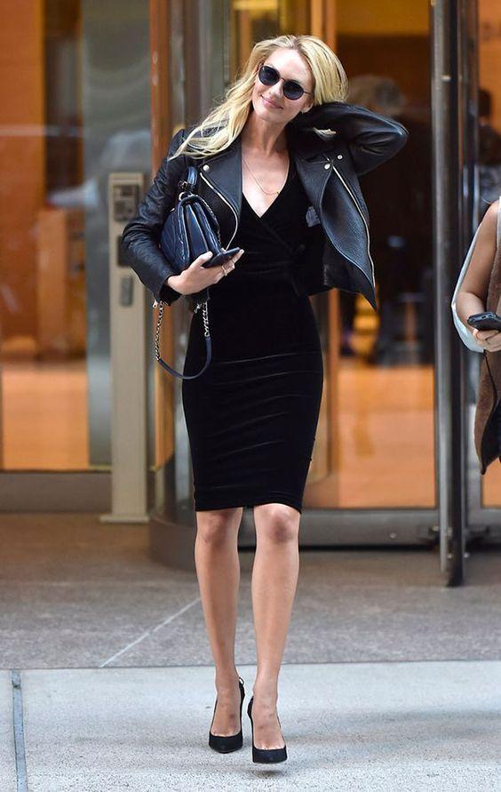looks veludo molhado preto vestido