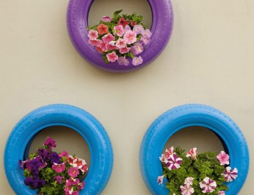 pneu vaso de flores