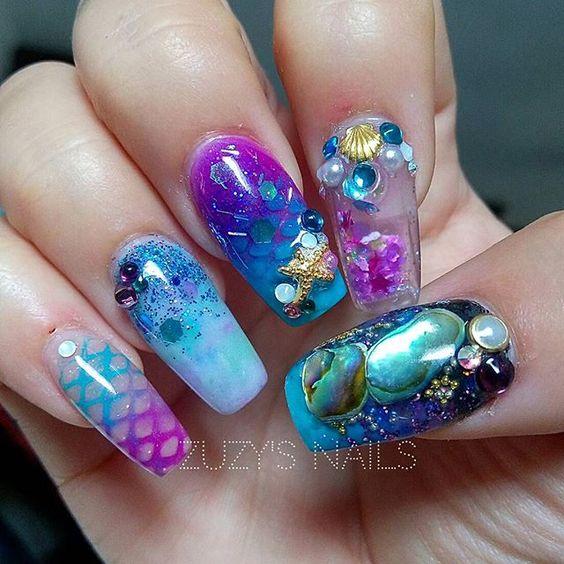 unhas aquário tendência nail art