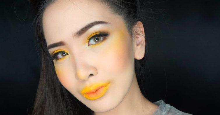 blush amarelo tendência de beleza