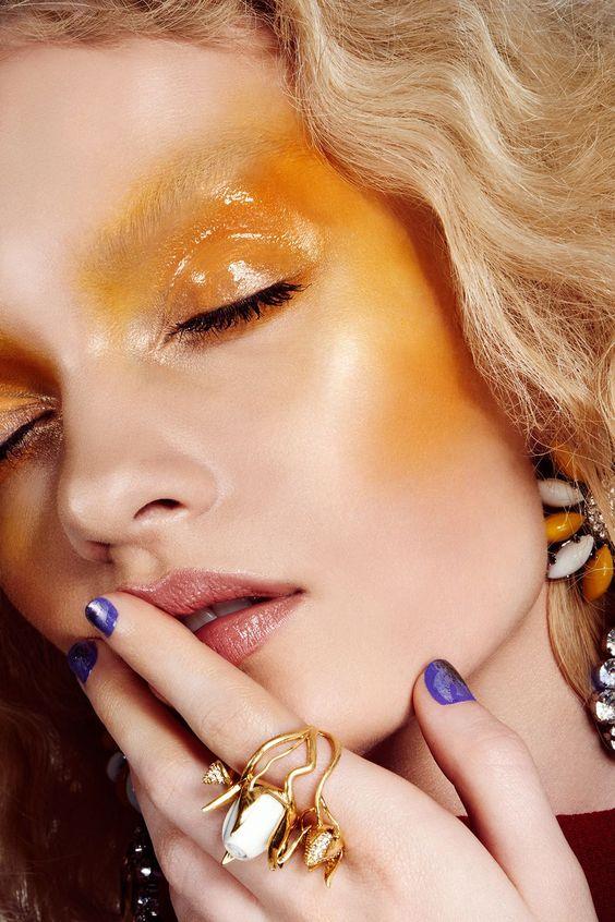 blush amarelo tendência de maquiagem