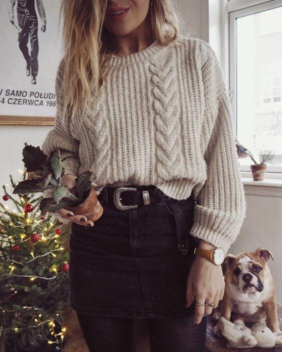 como usar tendência Hygge blusão de lã e calça preta