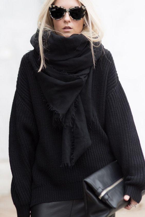 como usar tendência Hygge casaco preto e óculos escuros