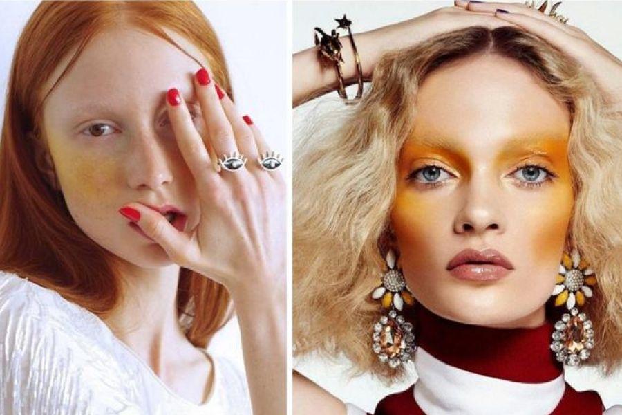 maquiagem blush amarelo