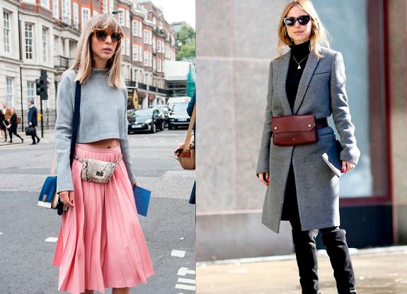 pochete com casaco de lã e saia plissada rosa