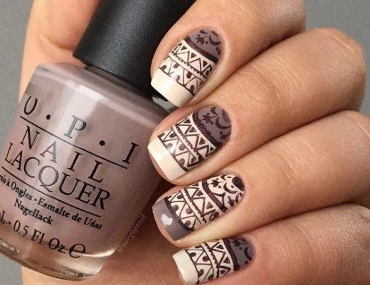 unhas, esmaltes e nail art de inverno bege e marrom claro