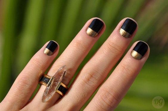 unhas, esmaltes e nail art de inverno unha minimalista preto e dourado