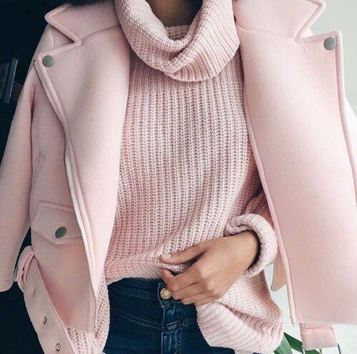 Millennial Pink rosa tendência geração Y blusão de lã e casaco