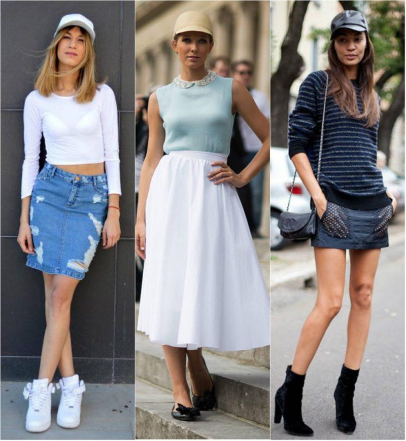 como usar boné feminino com saia de couro jeans e saia rodada