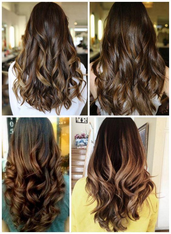 cor de cabelo Balayage marrom castanho