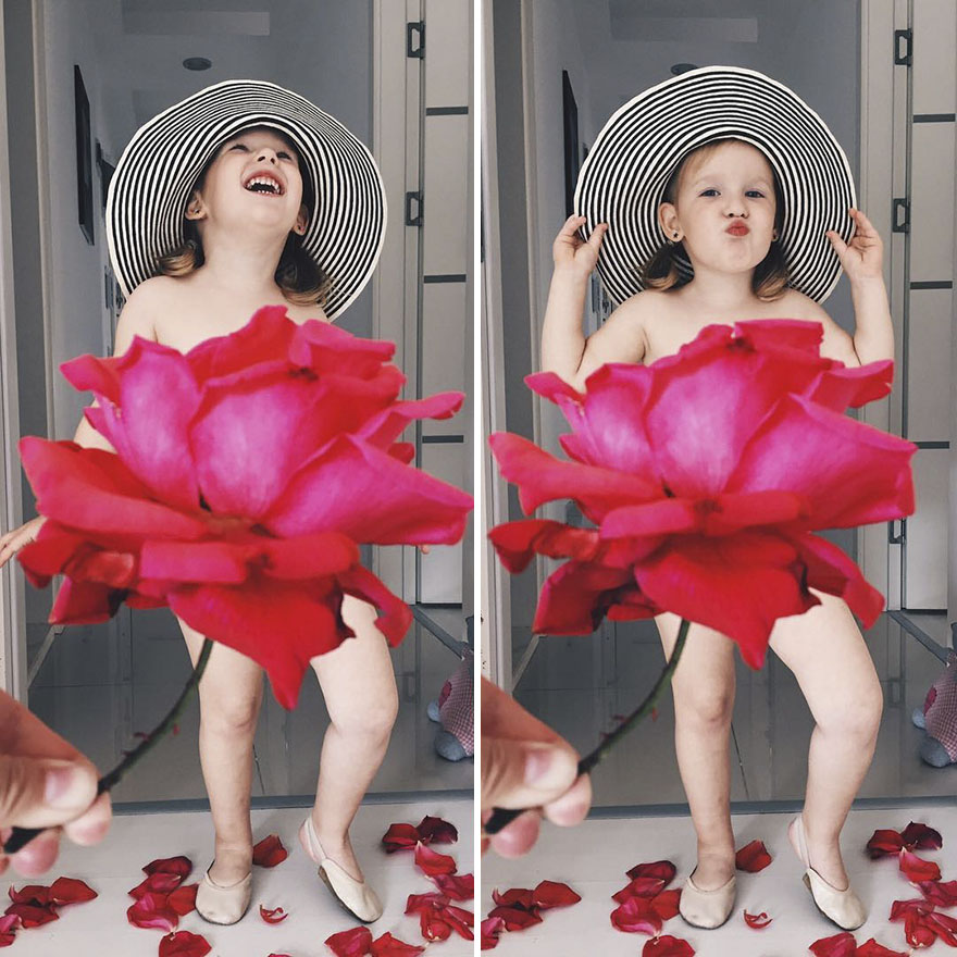 """Mãe """"veste"""" a filha com flores e alimentos 17"""