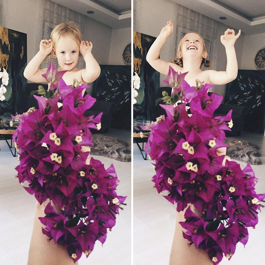 """Mãe """"veste"""" a filha com flores e alimentos 6"""