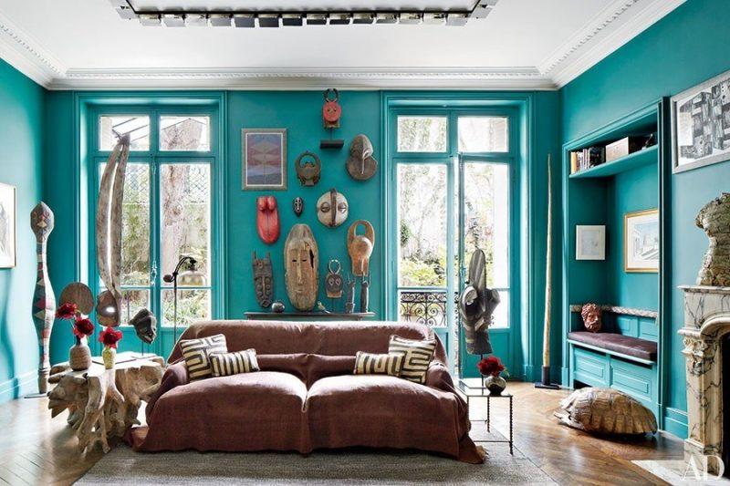 decoração de sala com cor marrs green