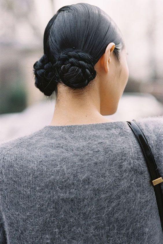 dois coques penteado tendêncis