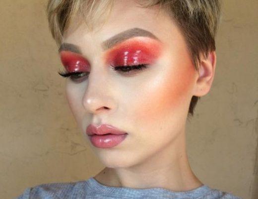 maquiagem vermelha glossy